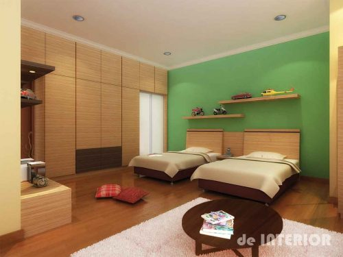 Ruang tidur anak minimalis dengan lemari built-in dan rak display mainan