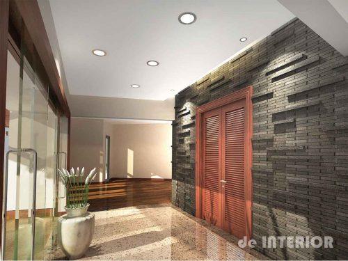 Foyer dengan dekorasi dinding batu alam