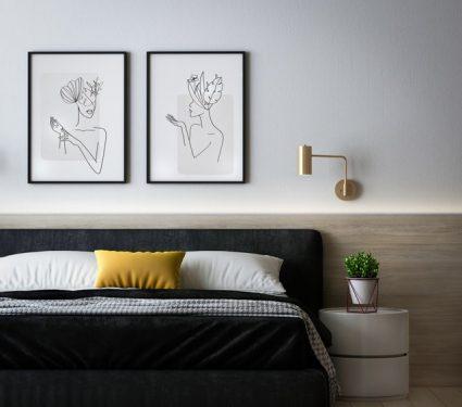 Kamar tidur yang elegan dengan warna hitam