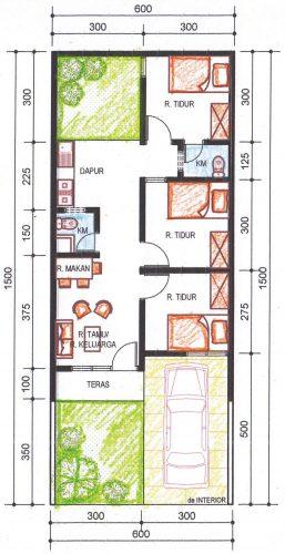 denah rumah tipe 36 alternatif 1