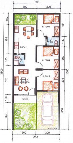 Denah rumah type 36 alternatif 2